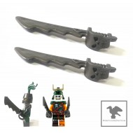 LEGO Minifigure Weapons - a pair of sword, Cutlass Serrated with Skull Hand Guard 骷髏劍兩把